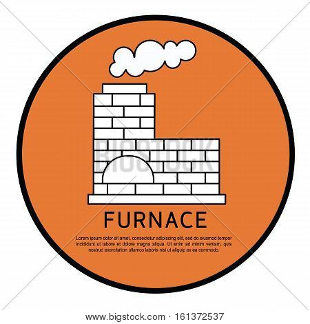 Vector retro furnace design. Fireplace house room warm christmas silhouette. Fireplace flame bright decoration coal furnace. Comfortable warmth fireplace.
