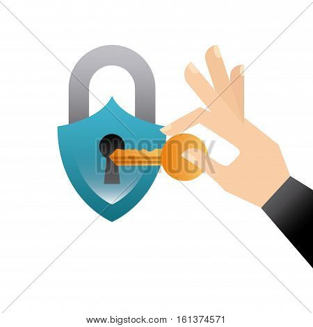 padlock and hand holding a key icon over white background. colorful design. vector illustration