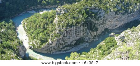 River In Provencal Mountains With Pine Trees, Verdon Gorges, Azur Coast, South Of France, Panorama