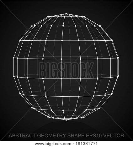 Abstract geometry shape: White sketched Sphere with Reflection. Hand drawn 3D polygonal Sphere. EPS 10, vector illustration.