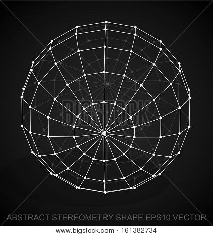 Abstract stereometry shape: White sketched Sphere with Transparent Shadow. Hand drawn 3D polygonal Sphere. EPS 10, vector illustration.