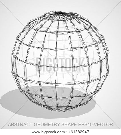 Abstract geometry shape: Ink sketched Sphere with Transparent Shadow. Hand drawn 3D polygonal Sphere. EPS 10, vector illustration.