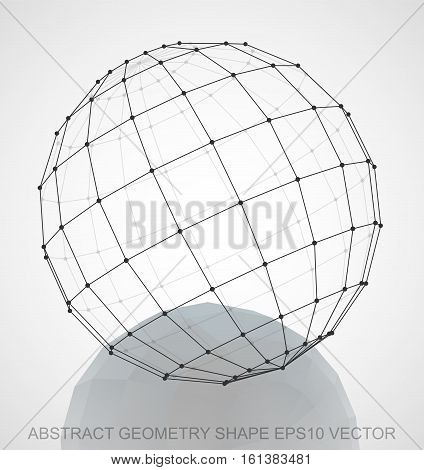 Abstract stereometry shape: Black sketched Sphere with Reflection. Hand drawn 3D polygonal Sphere. EPS 10, vector illustration.
