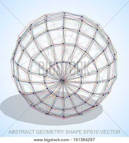 Abstract stereometry shape: Multicolor sketched Sphere with Transparent Shadow. Hand drawn 3D polygonal Sphere. EPS 10, vector illustration.