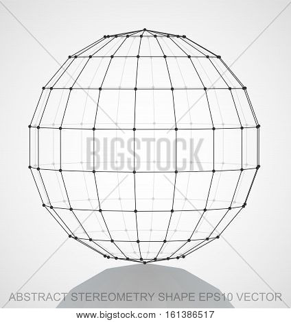 Abstract geometry shape: Black sketched Sphere with Reflection. Hand drawn 3D polygonal Sphere. EPS 10, vector illustration.