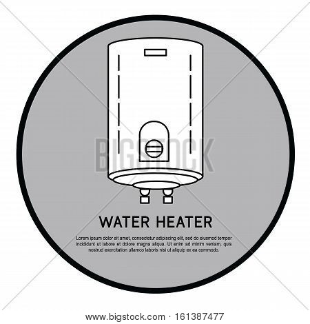 Outline symbol for heating home and shop. Modern vector line icon of heating system. Water heater linear logo.