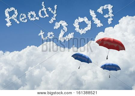 Many Umbrella Floating Above Against Blue Sky And Cloud.sunny Day.cloudscape.close Up The Cloud.text