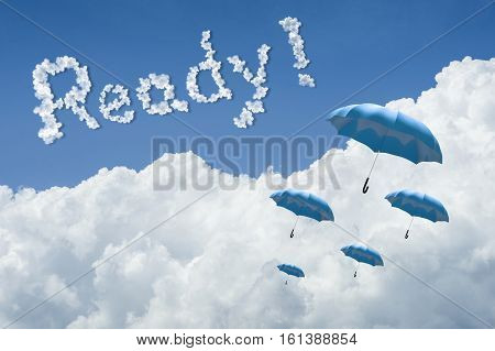 Many Blue Umbrella Floating Above Against Blue Sky And Cloud.sunny Day.cloudscape.close Up The Cloud