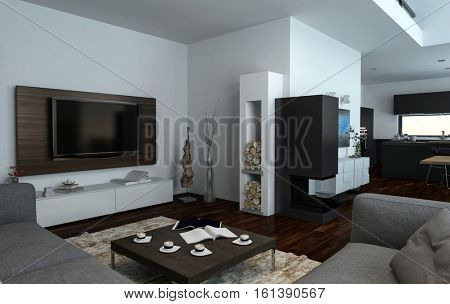 Upmarket open plan living room interior with comfortable sofas and a large flatscreen wall-mounted television, 3d Rendering
