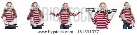 Lovely smiling little girl wearing colorful striped sweater and headdress holding skates isolated on white background. Winter clothes. Composite image