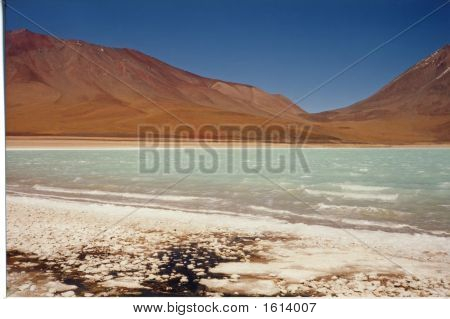 Coloured Laguna At Four Thousand Meter High, Uyuni Plateau Desert, Bolivia