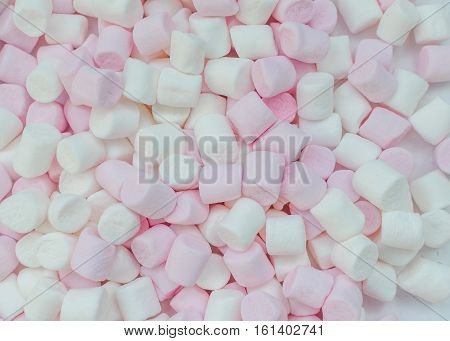 Pink and white mini marshmallows background close-up texture. A pile of different mini puffy marshmallows. Marshmallow concept. Wallpaper for desktop. Top view.
