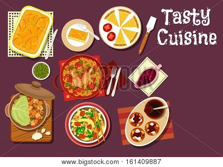 Mediterranean and chinese dinner icon with greek pie with cream, spanish pie empanadas, chinese beef noodle, vegetable lamb stew, pomegranate sauce, chicken rice with sausage, chocolate raisins cake