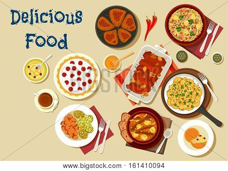 Dinner dishes icon with bulgur chicken salad, fried potato, azerbaijani cuisine lamb vegetable stew and beef roast, baked pumpkin, cranberry honey butter, fried chicken, berry tart with cream
