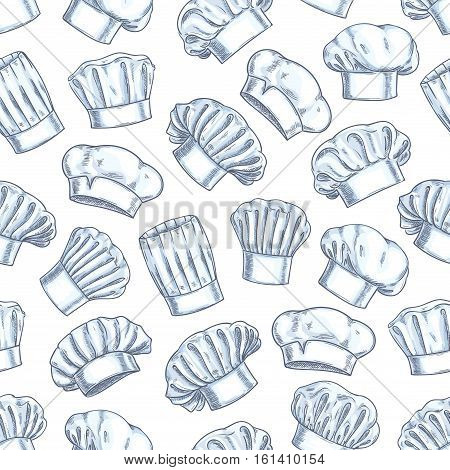 Chef toques seamless background. Wallpaper with vector pattern icons of restaurant cook caps. Pencil sketch decoration for restaurant, bakery, kitchen