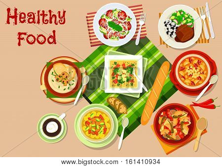 Bulgarian cuisine main dishes icon with vegetable cheese salad, tomato bean soup with sausage, vegetable stew, mushroom cream soup, baked lamb with rice, chickpea soup and broccoli ham soup