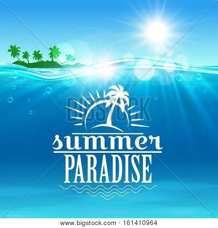 Summer travel and holiday poster. Summer paradise sign of tropical island beach with blue sunny sky, sea waves and palm trees. Travel, vacation, tourism design