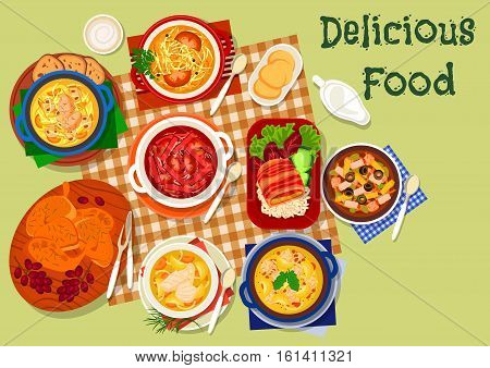 Russian cuisine dinner icon with chicken mushroom soup, cabbage soup with tomato, smoked meat and sausage soup with olives, chicken in bacon, fish soup, beet soup, chicken with grape, sauerkraut soup