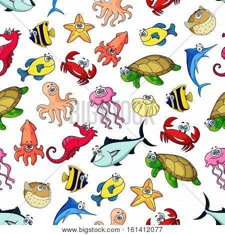 Cartoon seamless pattern of sea and ocean animals, fishes. Vector colorful icons of whale, dolphin, clown fish, starfish, jellyfish, crab, octopus, squid, shell, flounder, turtle, seahorse tuna Children decoration tile background