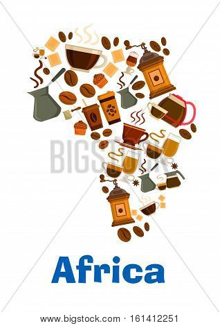 Coffee beans, mills, cups in shape of Africa continent map. Vector pattern of coffee makers, chocolates, hot cappuccino, mocha, latte coffee, muffin, turkish cezve for cafe design