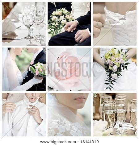 colagem de nove fotos de casamento