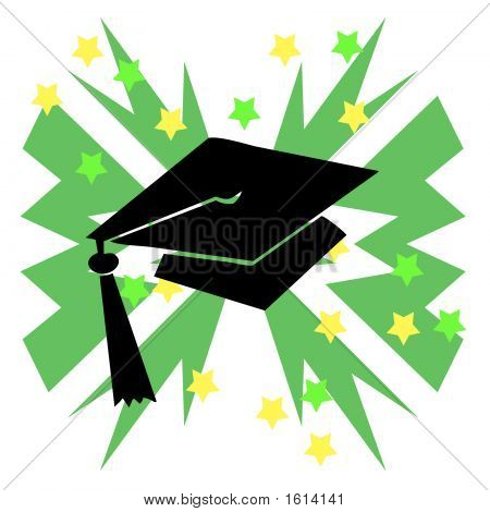 Grad Hat Green Burst