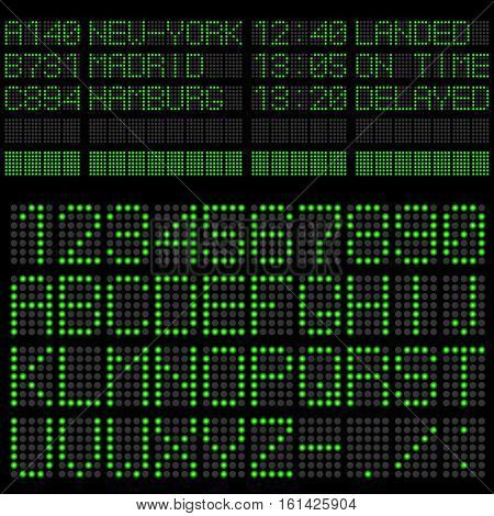 Transport departure and arrival information green LED light panel vector template.