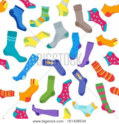 Colorful Fun Socks Set for Men and Women Background Pattern. Flat Design Style. Vector illustration