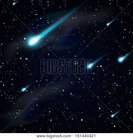 Falling stars, meteors or comets. Starry night sky vector background. Falling meteor on background night sky, illustration of falling asteroid