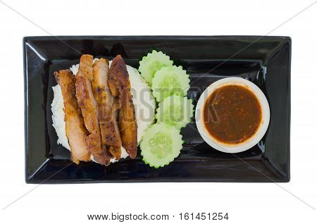 Grilled chicken teriyaki with rice and vegetables isolated on the white background with clipping path