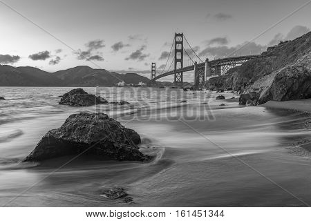 Golden Gate Bridge with different view from Marshall Beach