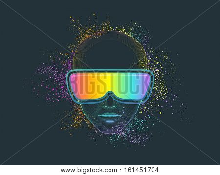 Conceptual Illustration of a Man Wearing Virtual Reality Goggles Surrounded by Colorful Dust