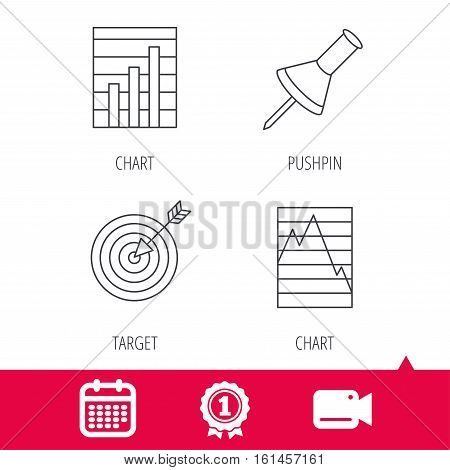 Achievement and video cam signs. Pushpin, graph charts and target icons. Supply and demand linear signs. Calendar icon. Vector