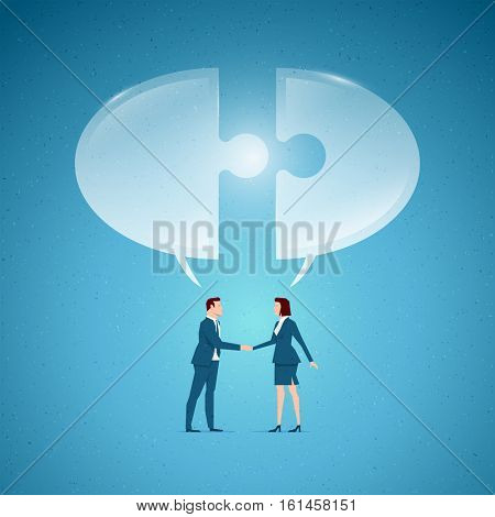 Business concept vector illustration. Cooperation, partnership, business opportunities, conversation, interview concept. Elements are layered separately in vector file.
