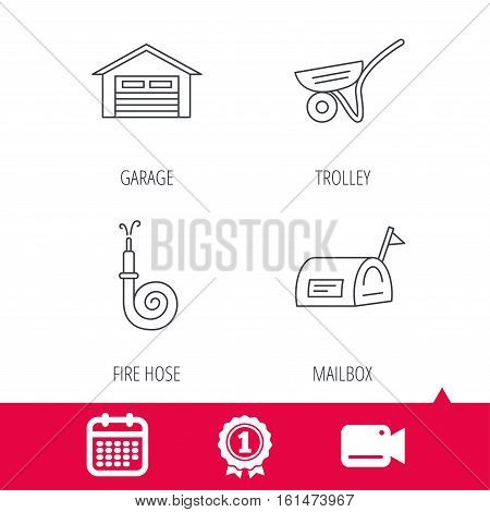 Achievement and video cam signs. Mailbox, garage and fire hose icons. Trolley linear sign. Calendar icon. Vector