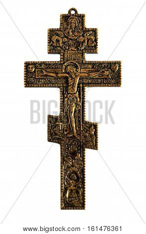 Bronze Cross with crucified Jesus Christ isolated on white