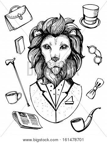 Lion in suit. Gentleman icons. Hand drawn vector illustration.