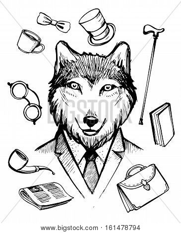 Wolf in suit. Gentleman icons. Hand drawn vector illustration.