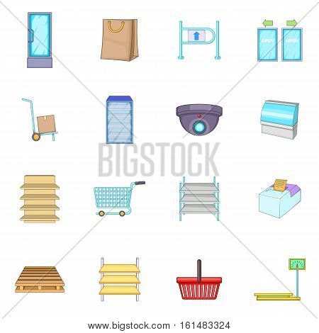 Supermarket icons set. Cartoon illustration of 16 supermarket vector icons for web