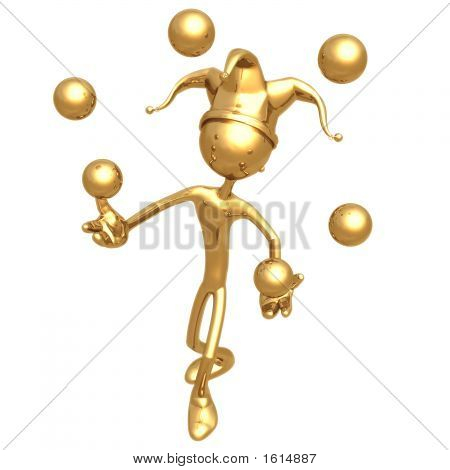 Jester Juggling Golden Balls