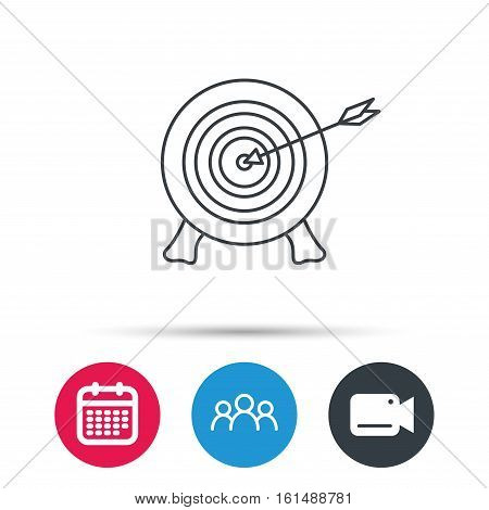 Target with arrow icon. Archery aiming sign. Professional shooter sport symbol. Group of people, video cam and calendar icons. Vector