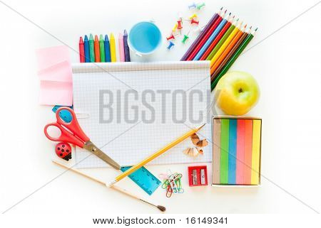 Photo of office and student gear over white background