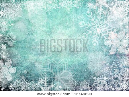 Blue christmas Seamless Pattern with snowflakes on blue background