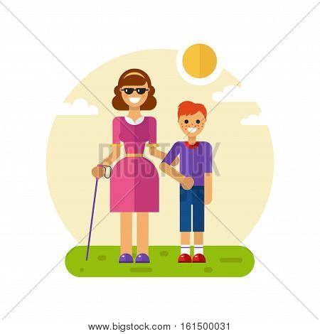 Vector flat design illustration of smiling boy with freckles helping young disabled blind woman in glasses and with stick walking. Woman keeping boy's hand. Disability person concept for banner
