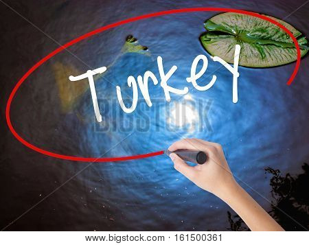 Woman Hand Writing Turkey  With Marker Over Transparent Board