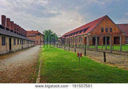 Oswiecim, Poland - May 2, 2014: Barracks and Crematorium in Auschwitz concentration camp Poland.