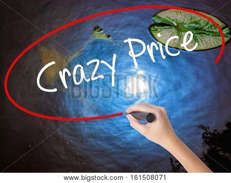 Woman Hand Writing Crazy Price With Marker Over Transparent Board