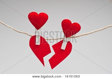 broken heart isolated on white for valentines day