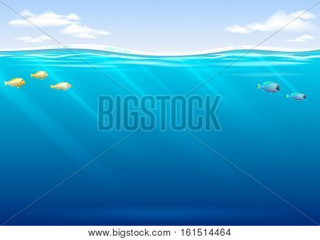Underwater background with tropical fish and sky in vector graphics. Blue waves and transparent rays