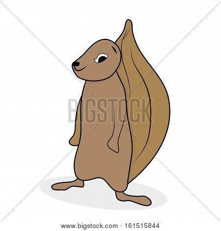 Ground squirrel cartoon animal. Squirrel isolated vector illustration